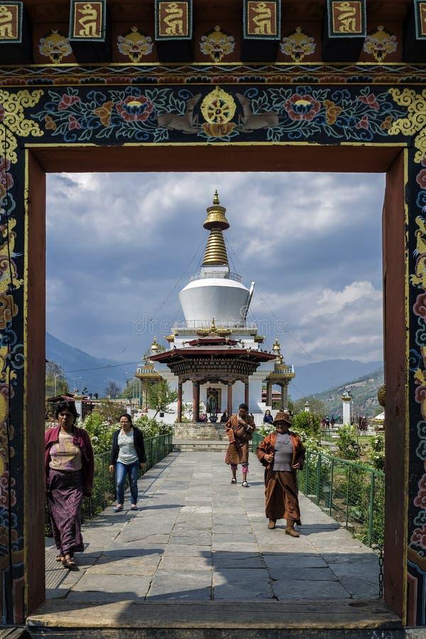 位于廷布的全国纪念Chorten,不丹首都 免版税库存图片