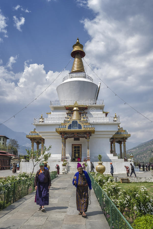 位于廷布的全国纪念Chorten,不丹首都 库存照片