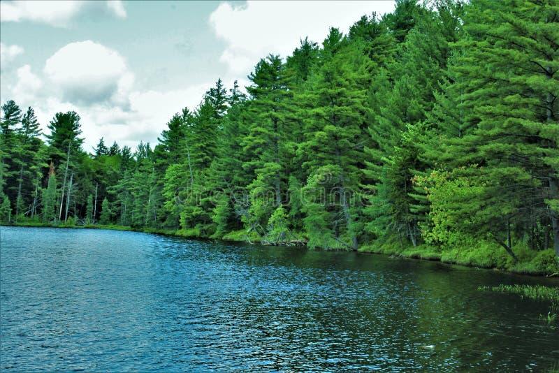 位于Childwold的伦纳德池塘,纽约,美国 图库摄影