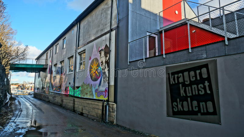 位于Kragero镇的艺术Kragero学校  库存照片