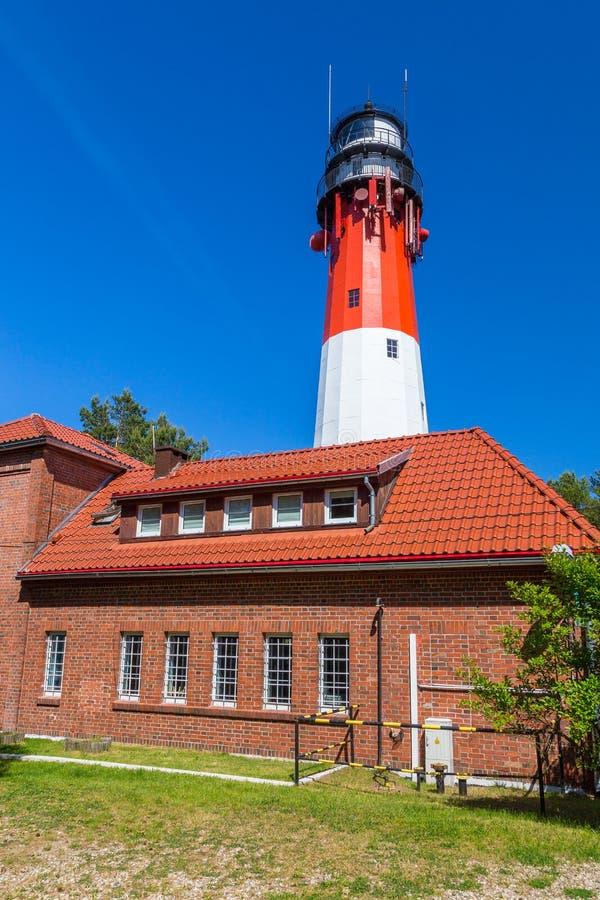 位于Osetnik的斯蒂洛灯塔波罗的海的波兰海岸 免版税库存照片