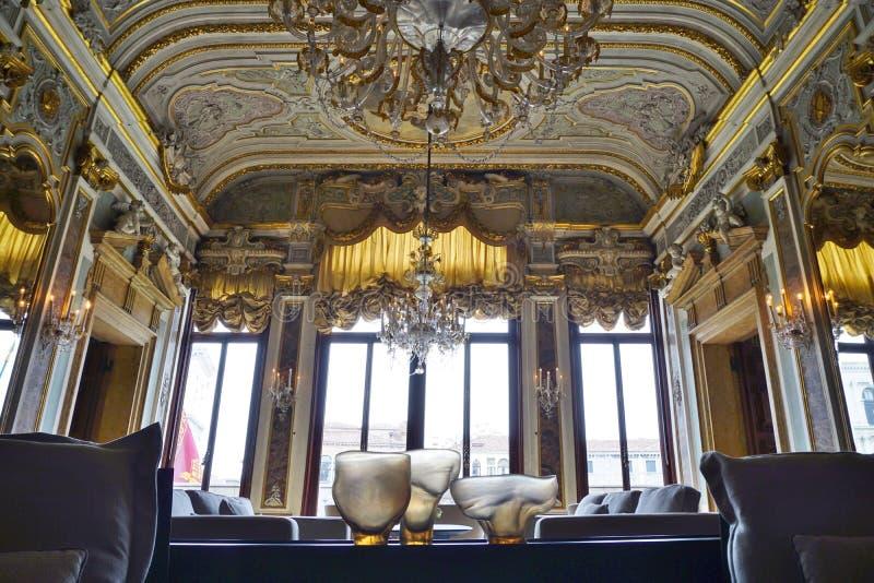 位于Palazzo的阿门洲运河重创的旅馆Papadopoli在威尼斯 免版税图库摄影