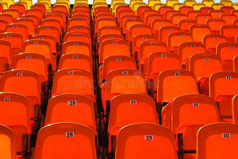 位子明亮的红色行在体育场内 免版税库存照片