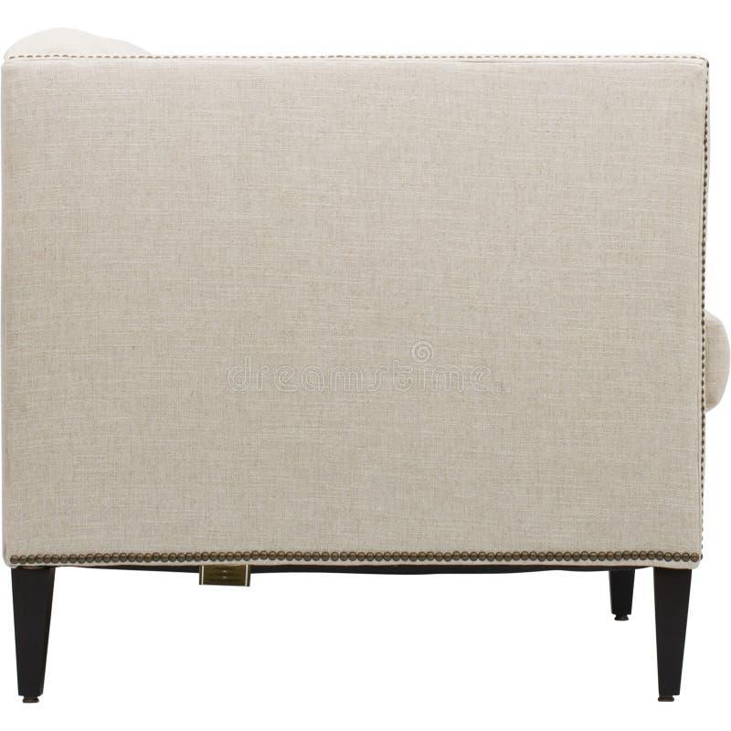 位子舒适皮革沙发,2在浅灰色的织品的seater现代沙发,2位子沙发,羽毛坐垫沙发, 免版税库存照片