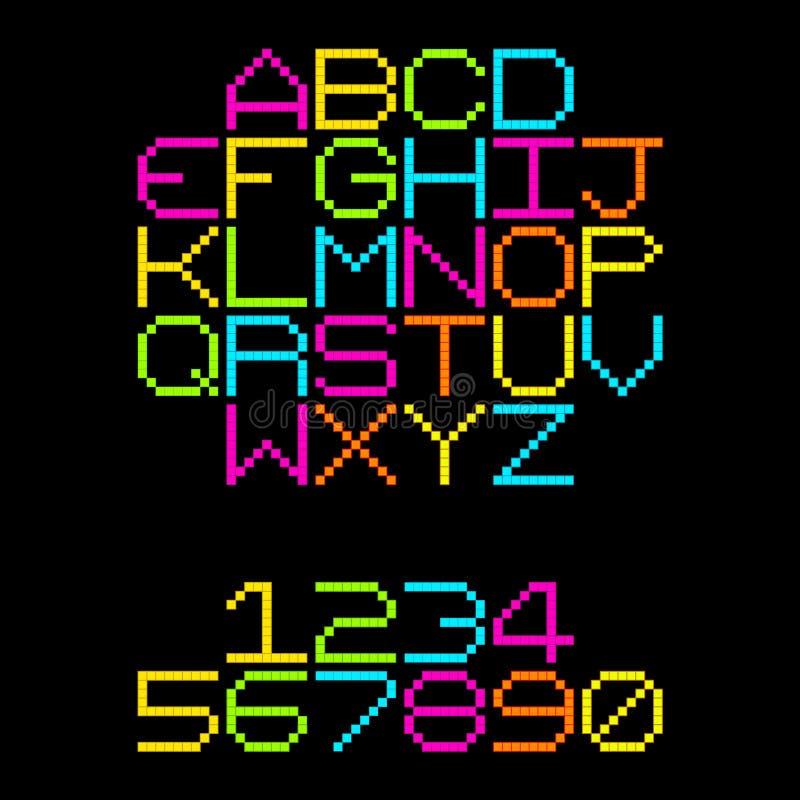 8位映象点减速火箭的霓虹字母表信件 EPS8传染媒介 向量例证