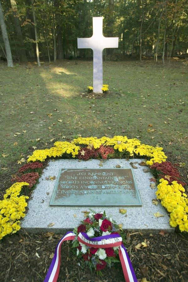50位法国战士丧生在约克镇围困的, 1781,被埋葬的法国公墓,殖民地全国Histor 库存照片