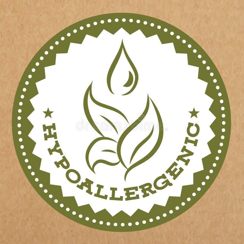 低变应原的绿色标签、徽章与叶子和水为过敏安全产品,传染媒介对象下降 皇族释放例证