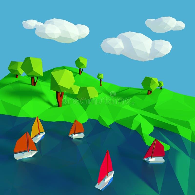 低多与在湖的许多小风船 向量例证