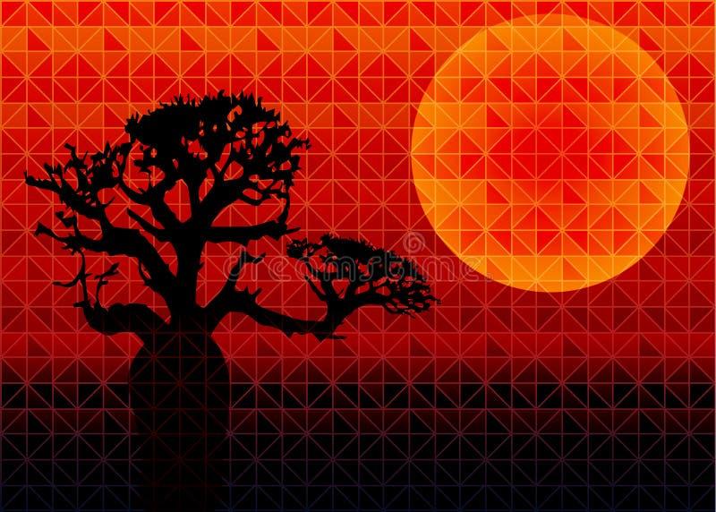 低多与太阳的三角几何背景在日落和猴面包树树 多颜色多角形传染媒介例证 皇族释放例证