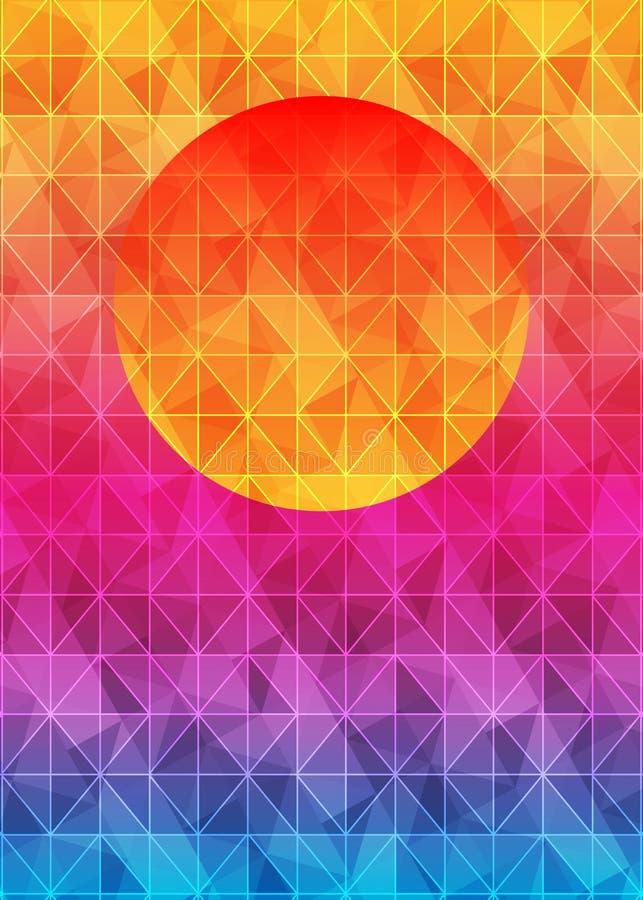 低多与太阳的三角几何背景在日落 多色多角形传染媒介例证,包括三角 向量例证