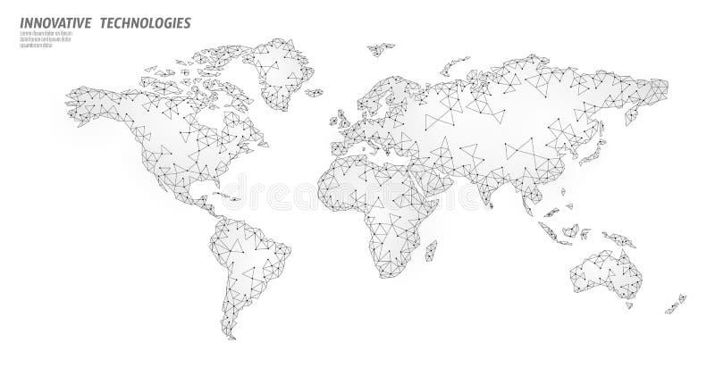 低多世界地图行星地球全球企业连接 网上网络欧洲非洲美国大陆 皇族释放例证