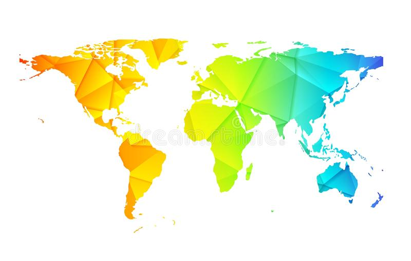低多世界地球地图摘要背景 库存例证