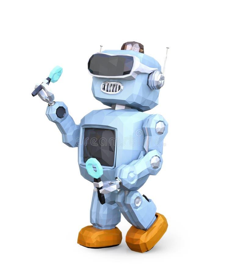 低多佩带VR耳机的样式减速火箭的机器人隔绝在白色背景 皇族释放例证
