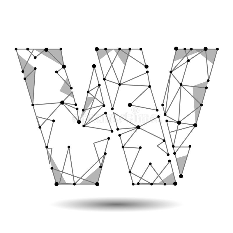 低多信件W英国拉丁 多角形三角连接小点点线 黑白色3d结构模型字体类型 向量例证