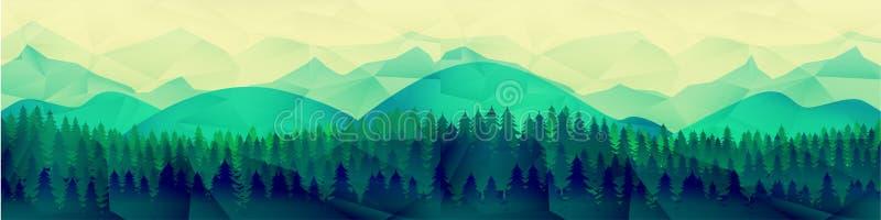 低多山风景传染媒介背景 多角形形状锐化与在上面和树的雪 库存例证