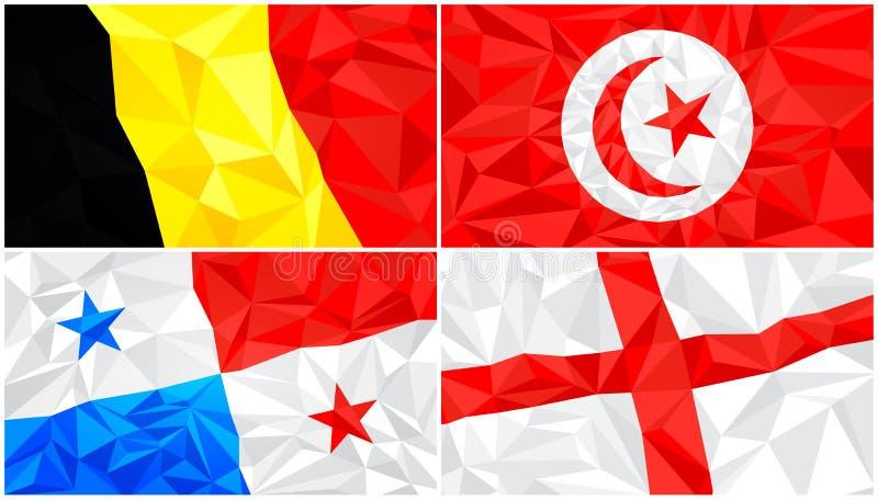 低多旗子,抽象多角形三角背景设置了7 皇族释放例证