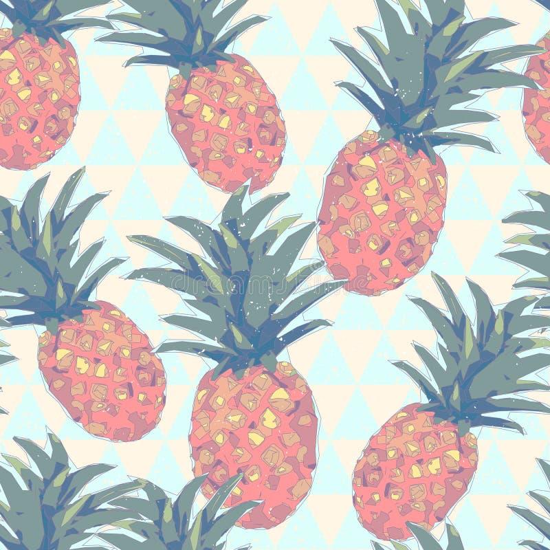 低多样式无缝的样式用菠萝 几何例证 向量例证