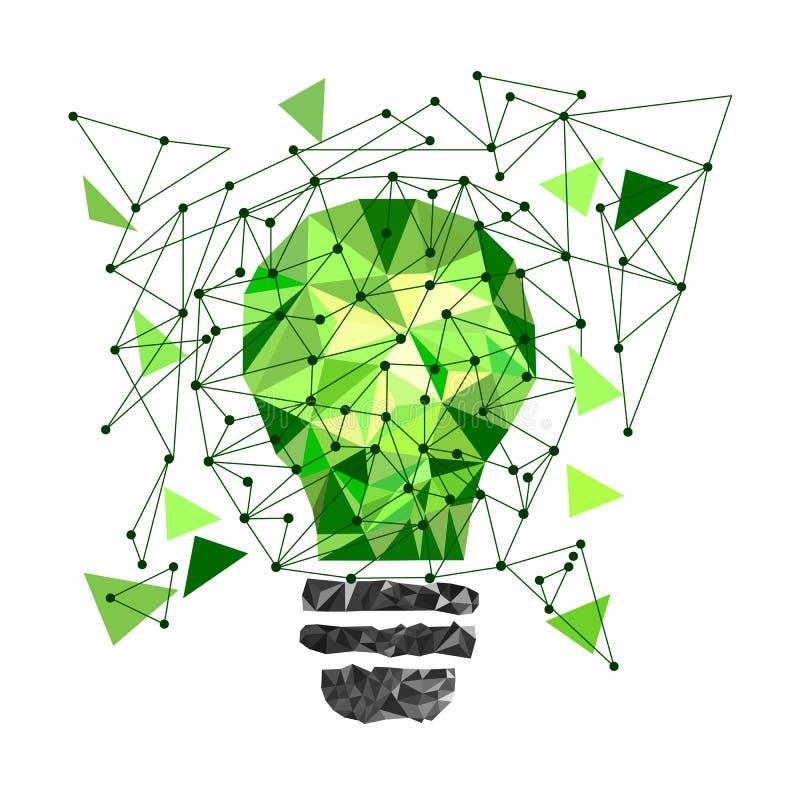低多样式浅绿色的电灯泡 在被隔绝的背景的传染媒介抽象例证 3d概念想法图象回报了 背景黑色关闭设计蛋炸锅衬衣t 库存例证