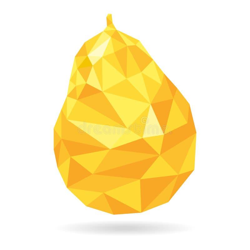 低多梨象 黄色标志,白色背景 标志自然,新鲜 三角多角形对象 库存例证
