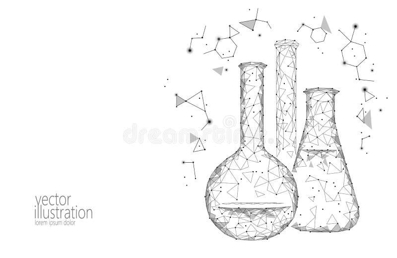 低多科学化工玻璃烧瓶 不可思议的设备多角形三角灰色白色单色抽象研究 库存例证