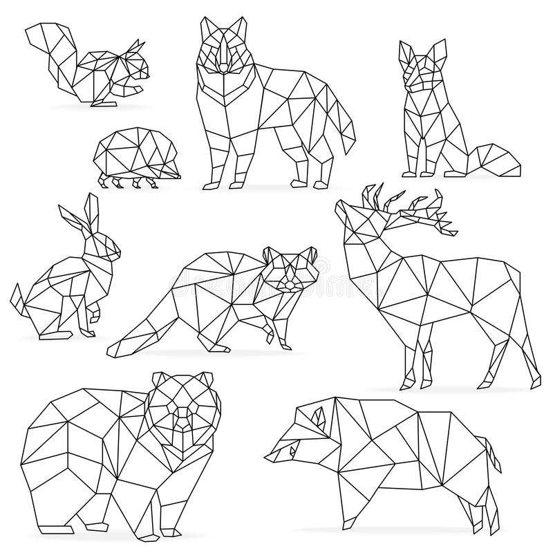 低多线被设置的动物 Origami poligonal线动物 狼熊鹿野公猪狐狸浣熊兔子猬 向量例证