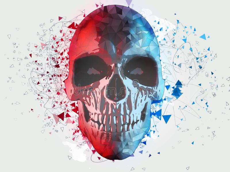 低多细胞被遮蔽的头骨 库存例证