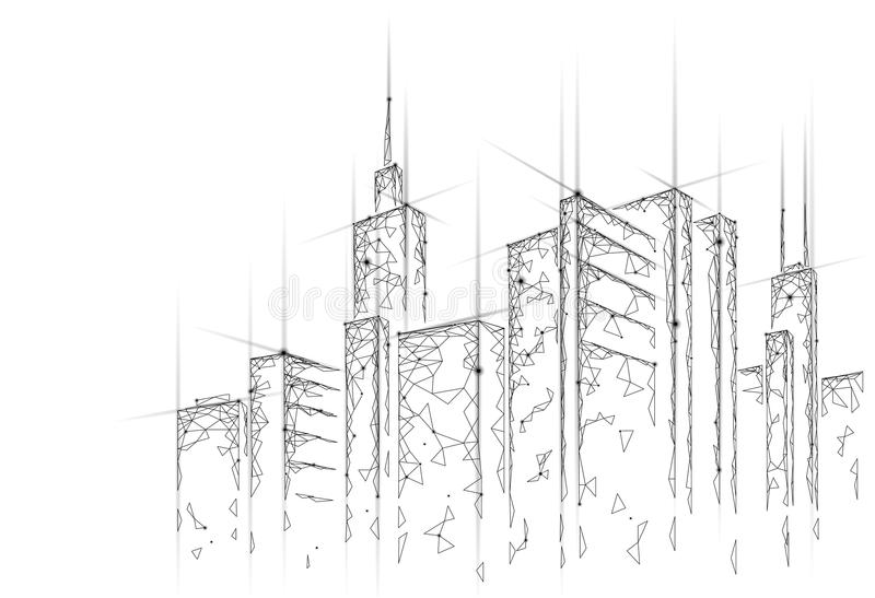 低多聪明的城市3D铁丝网 聪明的大厦自动化系统企业概念 网网上计算机 皇族释放例证
