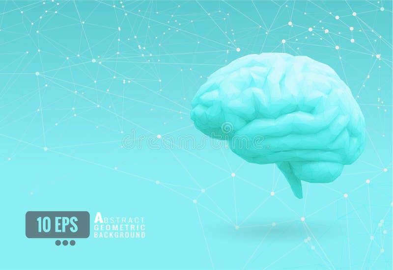 低多脑子侧视图连接小点BG 向量例证