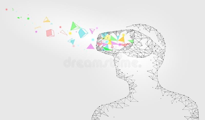 低多虚拟现实盔甲 未来创新技术幻想 被连接的多角形三角加点几何点 向量例证