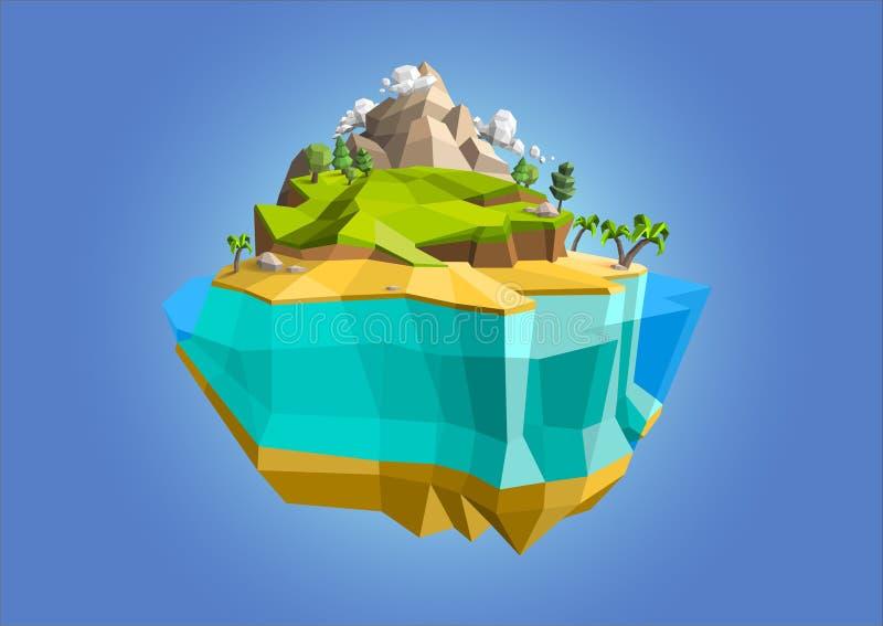 低多角形几何树和海岛 抽象传染媒介例证,低多样式 风格化设计元素 背景设计 皇族释放例证
