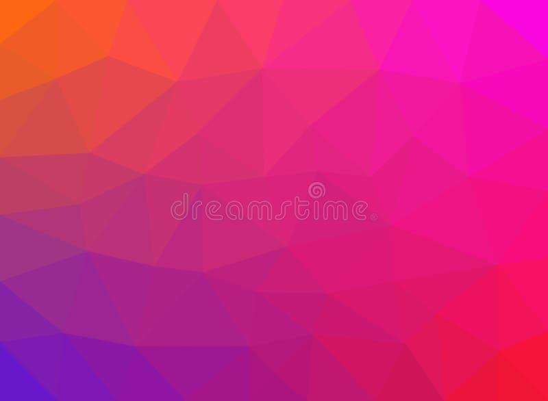 低多角形多蓝色桃红色紫色颜色 抽象背景 五颜六色的传染媒介例证横幅 皇族释放例证