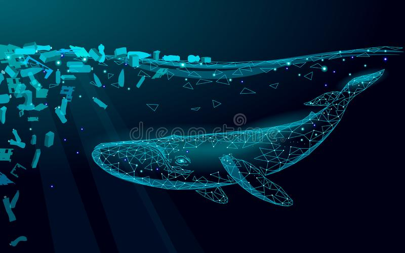 低多3D鲸鱼塑料海洋污染游泳海里 水表面黑暗的夜发光的波浪垃圾 保存帮助 库存例证