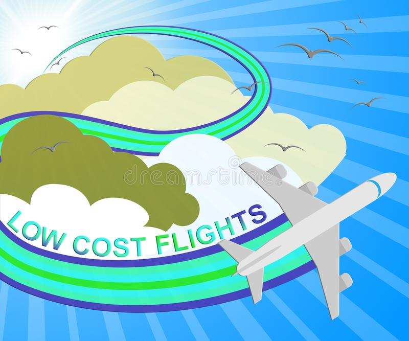 低成本飞行意味便宜的飞行3d例证 库存例证