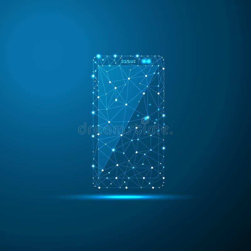 低智能手机低多例证、多角形空间多与连接的小点和线 连接结构 向量例证
