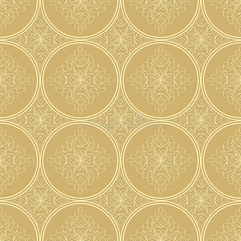 低有金银细丝工的装饰品的对比的米黄无缝的背景瓦片 葡萄酒在锦缎设计的织品样式 向量例证