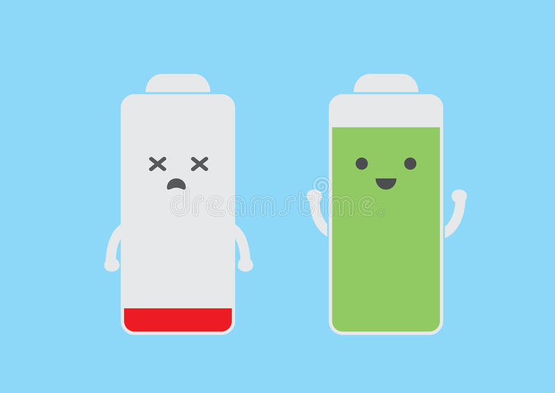 低电池和全能力 库存例证