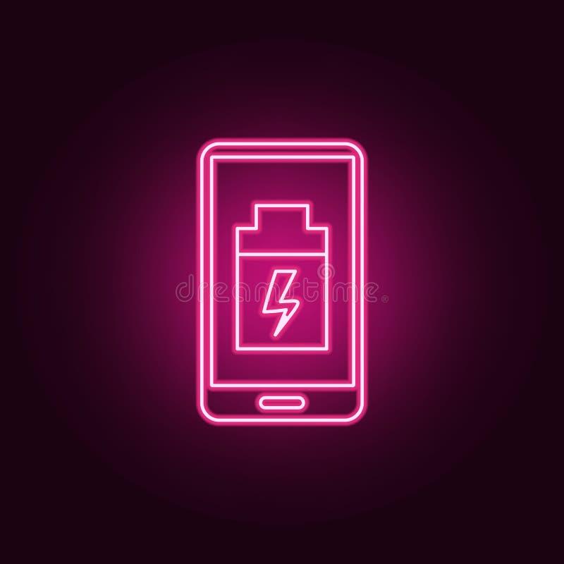 低电池智能手机象 元素的人为在霓虹样式象 网站的简单的象,网络设计,流动应用程序,信息 皇族释放例证