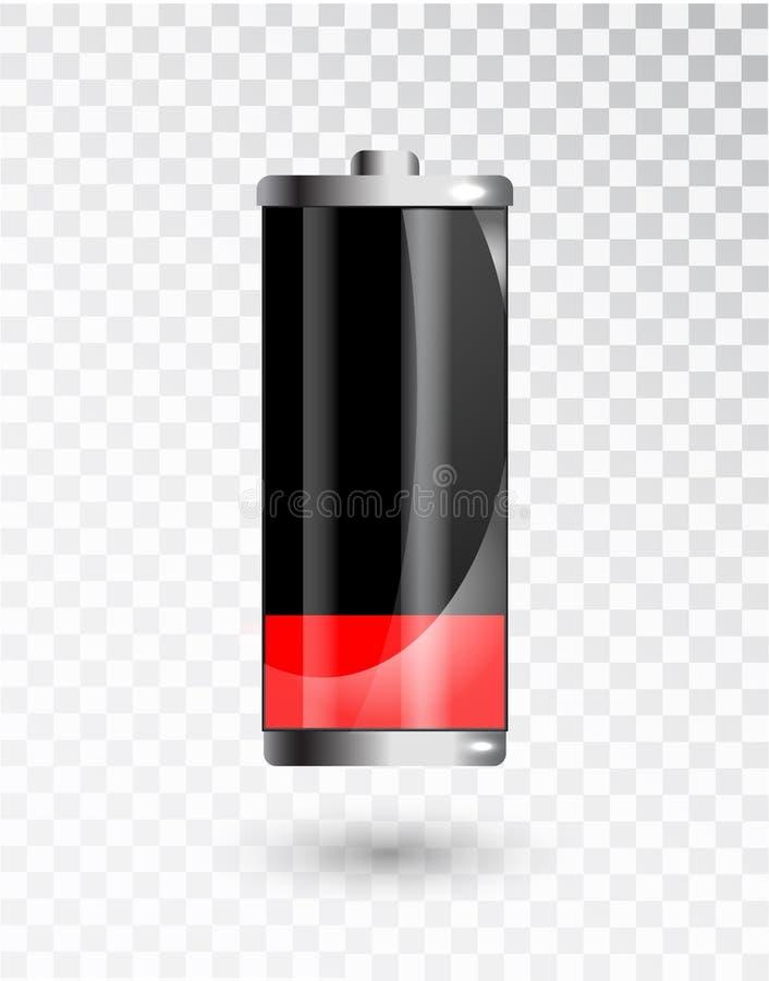 低的电池 充电状态指示 在透明背景的玻璃现实力量电池例证 库存例证