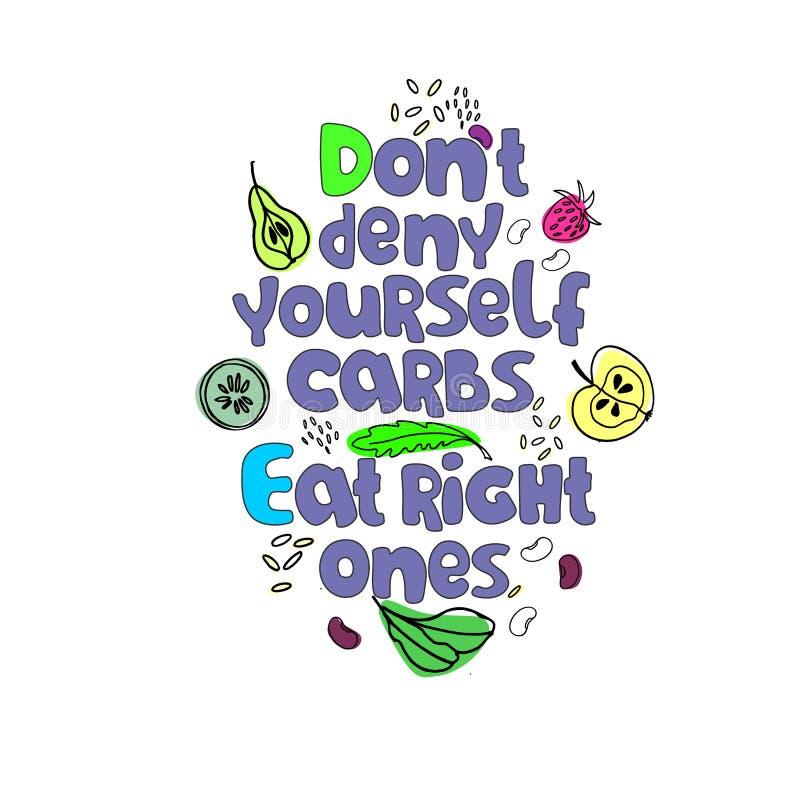 低碳饮食的概念以及平衡的方法想法  手拉的口号和健康气化器食物 向量例证