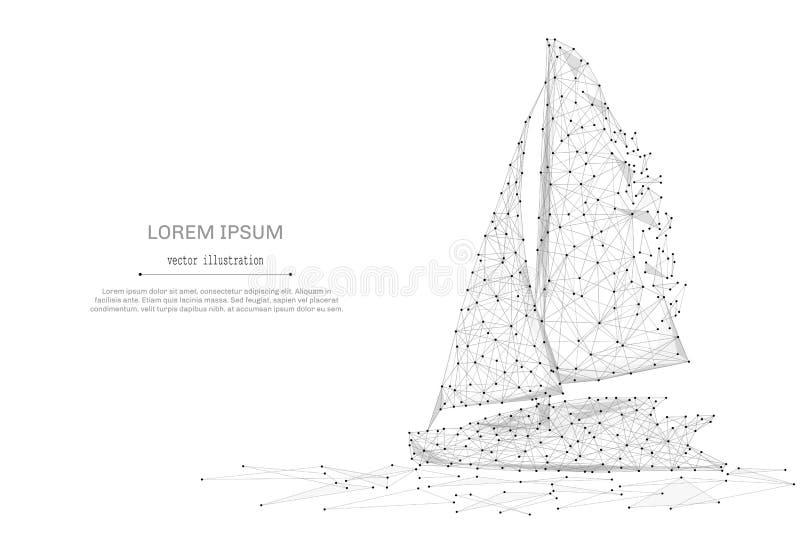 低航行游艇多灰色 向量例证