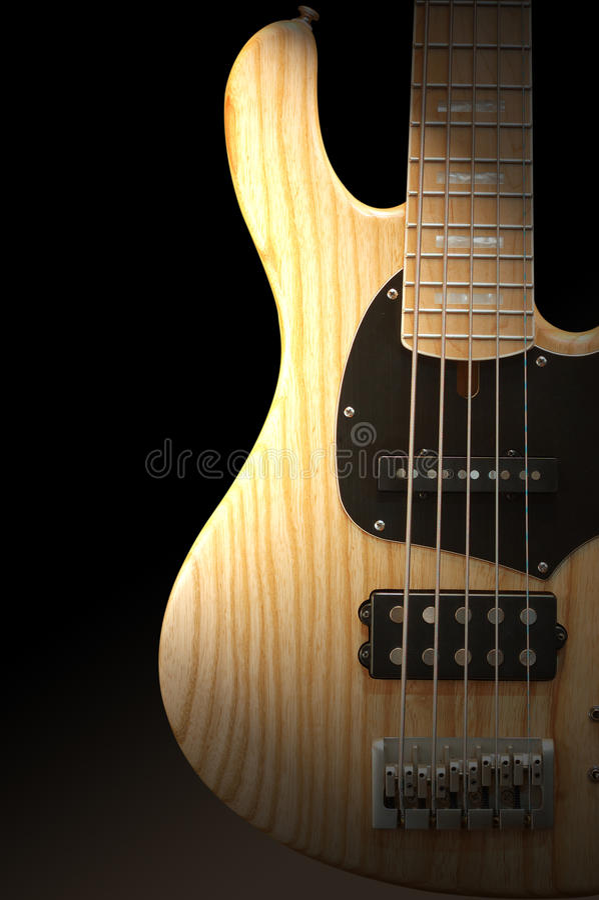 低音吉它木头 库存照片