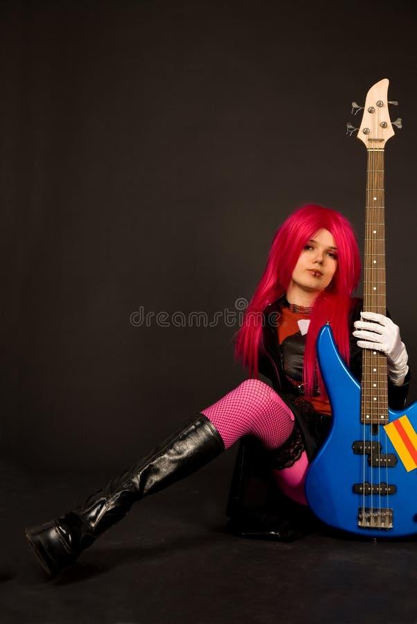 低音女孩吉他岩石 免版税库存图片