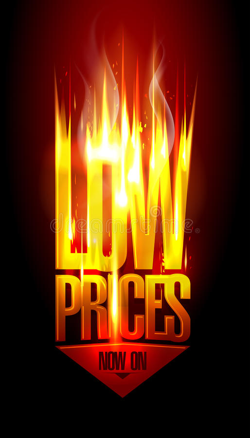 低价现在,与箭头的热的火热的销售传染媒介设计调低 向量例证
