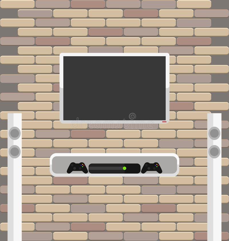 围住与垂悬对此的电视和比赛控制台的砖 皇族释放例证