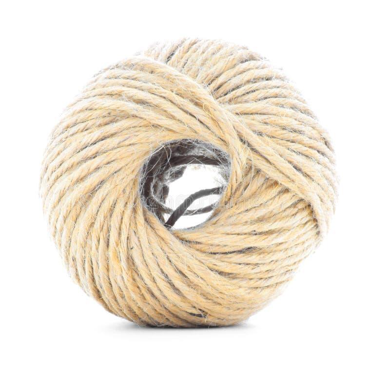 系住丝球,黄麻卷,在白色背景隔绝的结辨的球 免版税库存照片