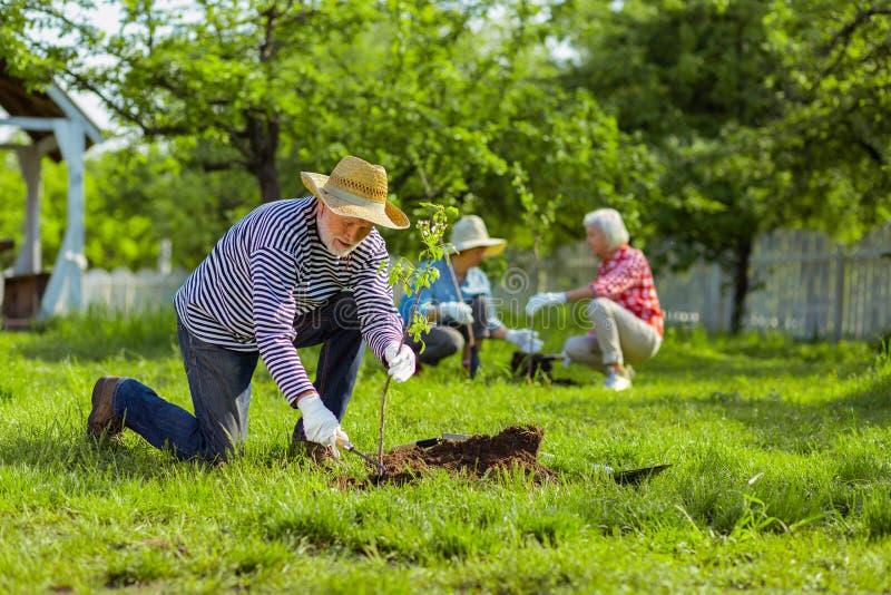 住在村庄房子的领抚恤金者种植树在邻里 免版税图库摄影