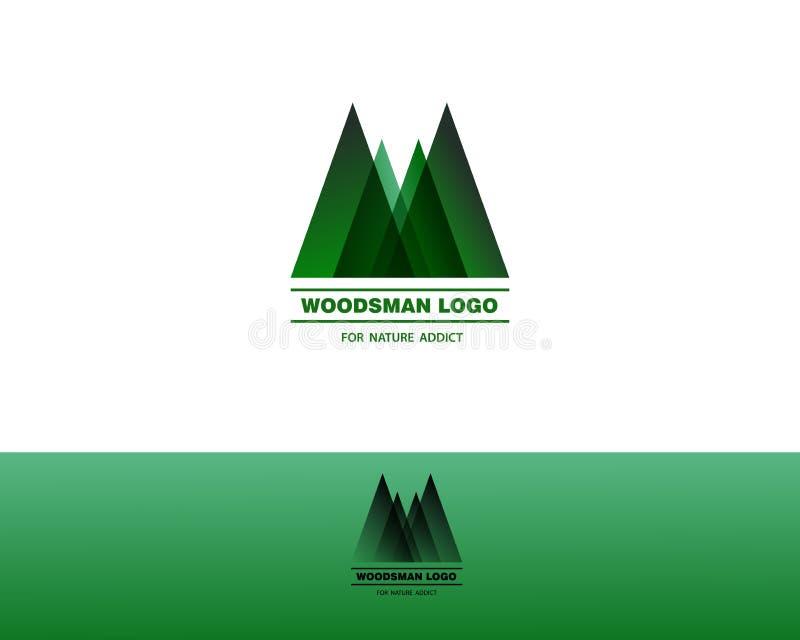 住在森林并熟悉森林的人绿色商标 向量例证