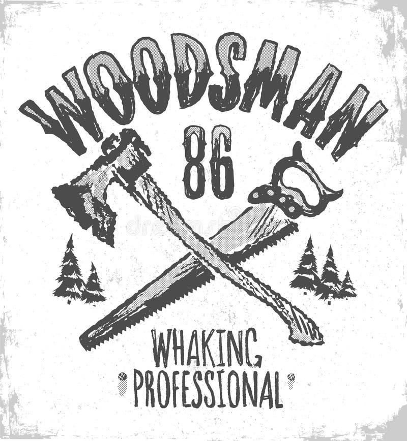 住在森林并熟悉森林的人T恤杉印刷品,葡萄酒行家衬衣设计 库存例证