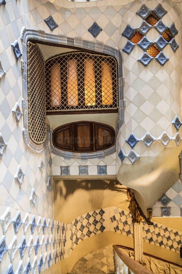 住处Batllo内部露台在巴塞罗那,卡塔龙尼亚 免版税图库摄影