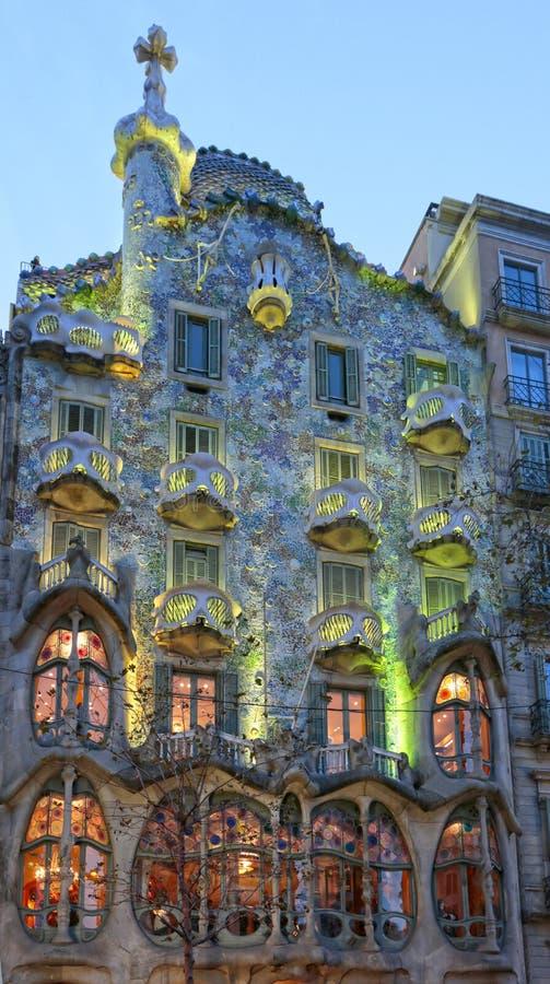 住处Batllo, Gaudi建筑学,扩展区,巴塞罗那,西班牙 免版税库存照片